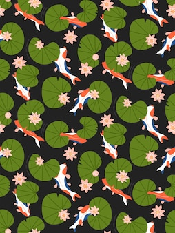 Seamless pattern with lily flowers leaves and koi carp in pond on dark
