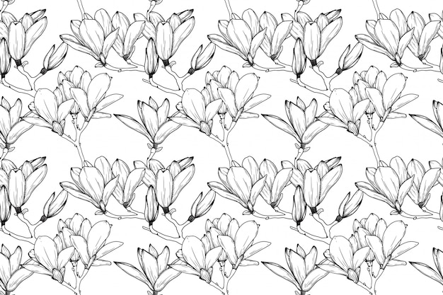 Seamless pattern with lily flowers