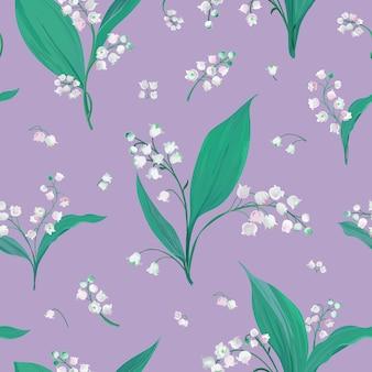 スズランとスノードロップの花、植物の花のテキスタイルプリント、ベクトルのカバーデザインイラストとのシームレスなパターン