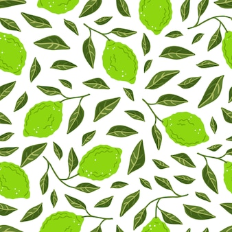 Seamless pattern with limes and leaves. vector illustration