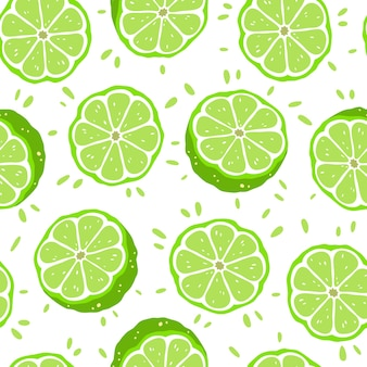 Seamless pattern with limes slices. vector illustration