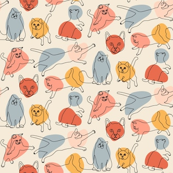 Seamless pattern with line cats