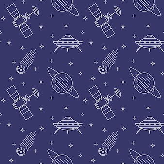 Seamless pattern with line cosmos pictograms.