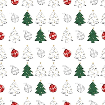 Seamless pattern with line and silhouette of christmas trees and balls happy new year print for wrap...