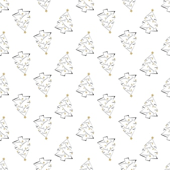 Seamless pattern with line and silhouette christmas trees stars and festive garlands happy new year ...