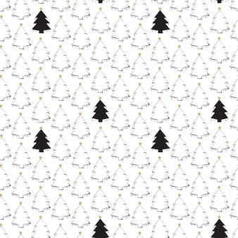 Seamless pattern with line and silhouette christmas trees with stars happy new year print for wrappi...
