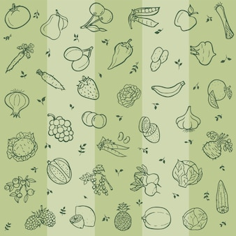Seamless pattern with lineart of fruits and vegetables