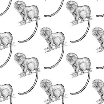 Seamless pattern with lion tamarin.