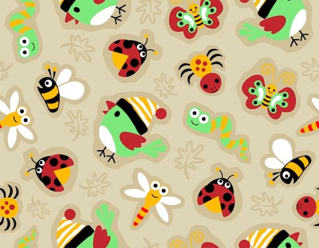 小さな動物とシームレスなパターン漫画