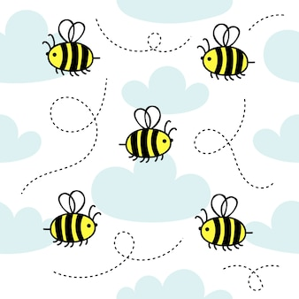 Seamless pattern with little cute bees fly in the clouds