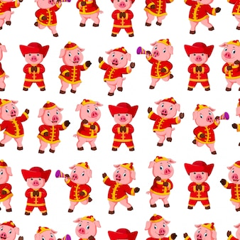 Seamless pattern with little pink pigs