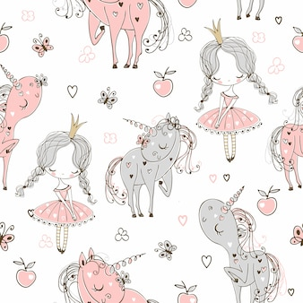 Seamless pattern with little princesses and unicorns.