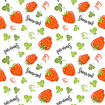 Seamless pattern with little strawberries, leaves, hand lettering