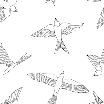 Seamless pattern with little swallows.
