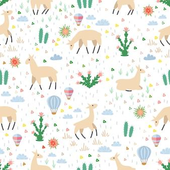 ラマとサボテンのシームレスなパターン。図。手描きの要素。かわいいラマとテキスタイル生地の幼稚な質感