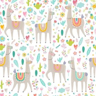 라마, 선인장, 무지개와 손으로 그린 요소와 원활한 패턴입니다.