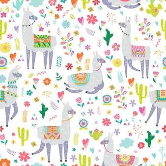 Бесшовный паттерн с ламы, кактуса, радуги и рисованной элементов.