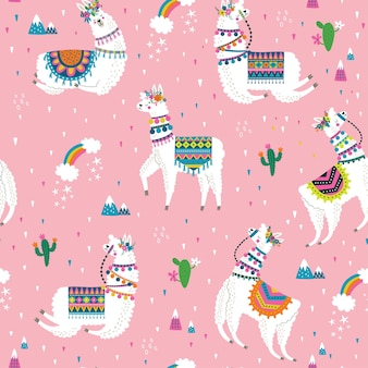 Seamless pattern with llama, cactus, rainbow and hand drawn elements.