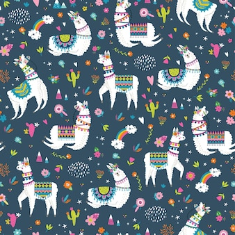 Seamless pattern with llama, cactus, rainbow and hand drawn elements