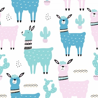 Seamless pattern with llama, cactus.