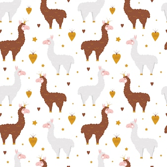 Seamless pattern with llama and hand drawn elements.