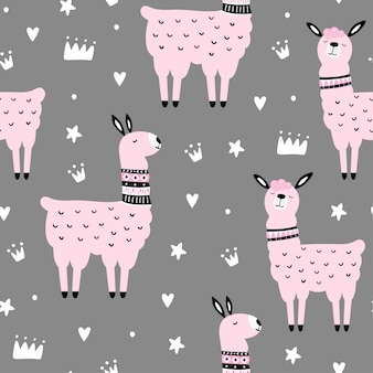Seamless pattern with llama and hand drawn elements