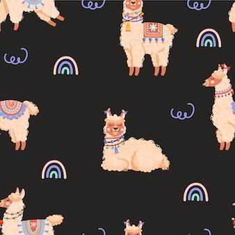 Seamless pattern with llama and rainbow.