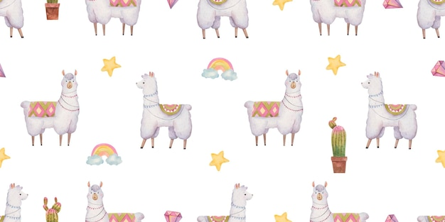 Seamless pattern with llamas and alpacas