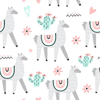 Seamless pattern with llamas