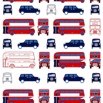 Seamless pattern with london double decker and taxi.