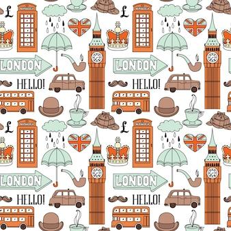 Бесшовный фон с элементами лондона и достопримечательностями