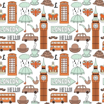 Seamless pattern with london elements and landmarks
