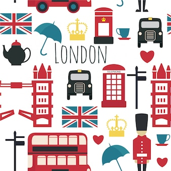 Seamless pattern with london's symbols.