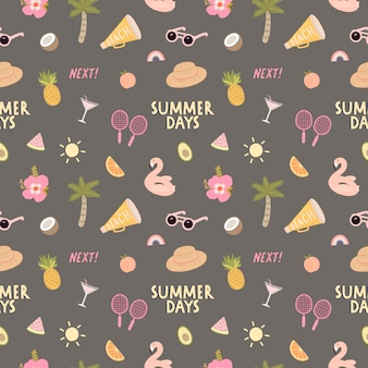 Seamless pattern with a lot of beach and summer elements