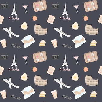 Seamless pattern with a lot of travel elements such as the eiffel tower