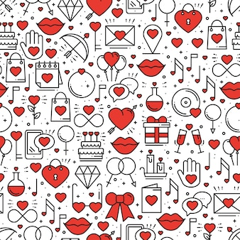 Seamless pattern with love symbols.
