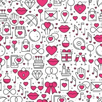 Seamless pattern with love symbols.