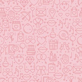 Seamless pattern with love symbols