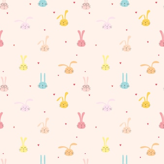 Seamless pattern with lovely bunny, cute rabbit art for kids