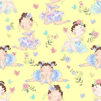 Seamless pattern with lovely girls ballerinas.