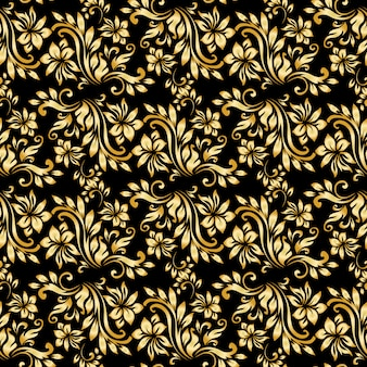 Seamless pattern with luxury damask ornament on the black background.
