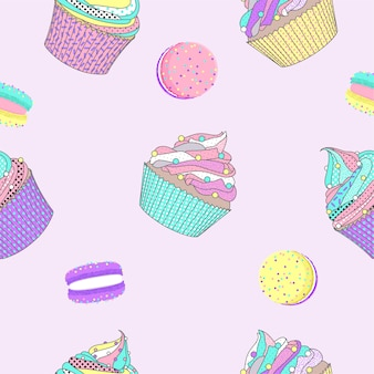 Seamless pattern with macaron and cupcake