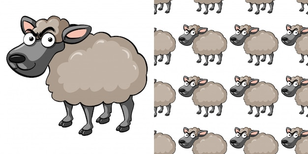 Seamless pattern with mad sheep