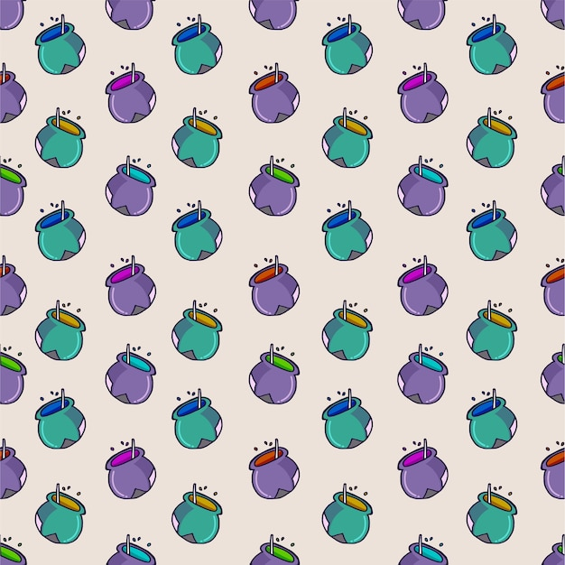 Seamless pattern with magic cauldron, potion, pot, isolated on bright background. hand drawn .