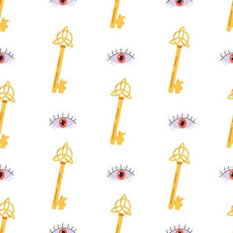 Seamless pattern with magic key and evil eye
