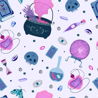 Seamless pattern with magic magic elements in lilac, purple and pink.
