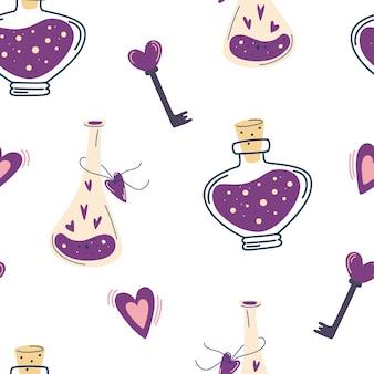 Бесшовный фон с волшебным зельем и сердцами. фон с любовным напитком и сердцем. концепция любви на день святого валентина. подходит для подарочной бумаги, тканей и принтов. декор для хэллоуина. вектор