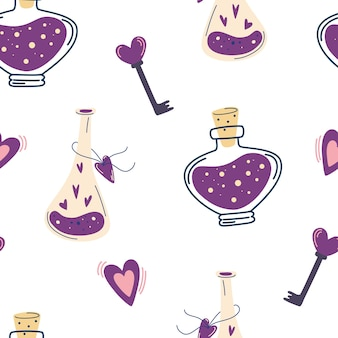 Seamless pattern with magic potion and hearts.  background with love drink and heart. love concept for valentine's day. suitable for gift papers, fabrics and prints. decor for halloween. vector
