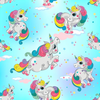 Seamless pattern with magic unicorns.