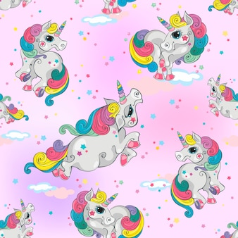 Seamless pattern with magic unicorns
